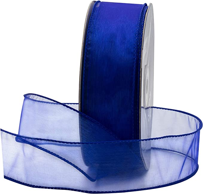 farmhouse ribbon White /& Navy Blue Toile Wired Ribbon 4 x 5 YARD ROLL Craft supply Bow making All season ribbon Spring ribbon