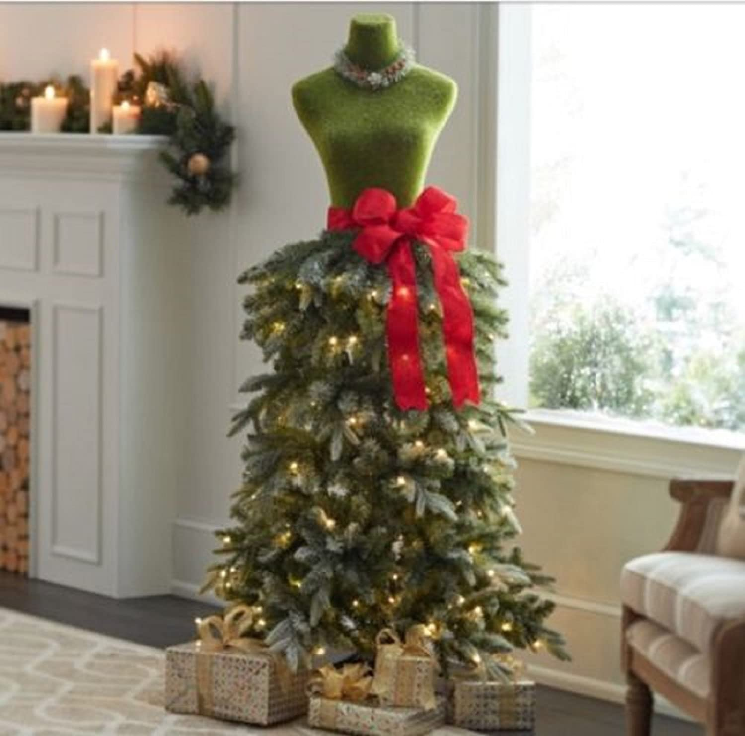 5 ft dress form mannequin green with red bow christmas holiday prelit tree store front