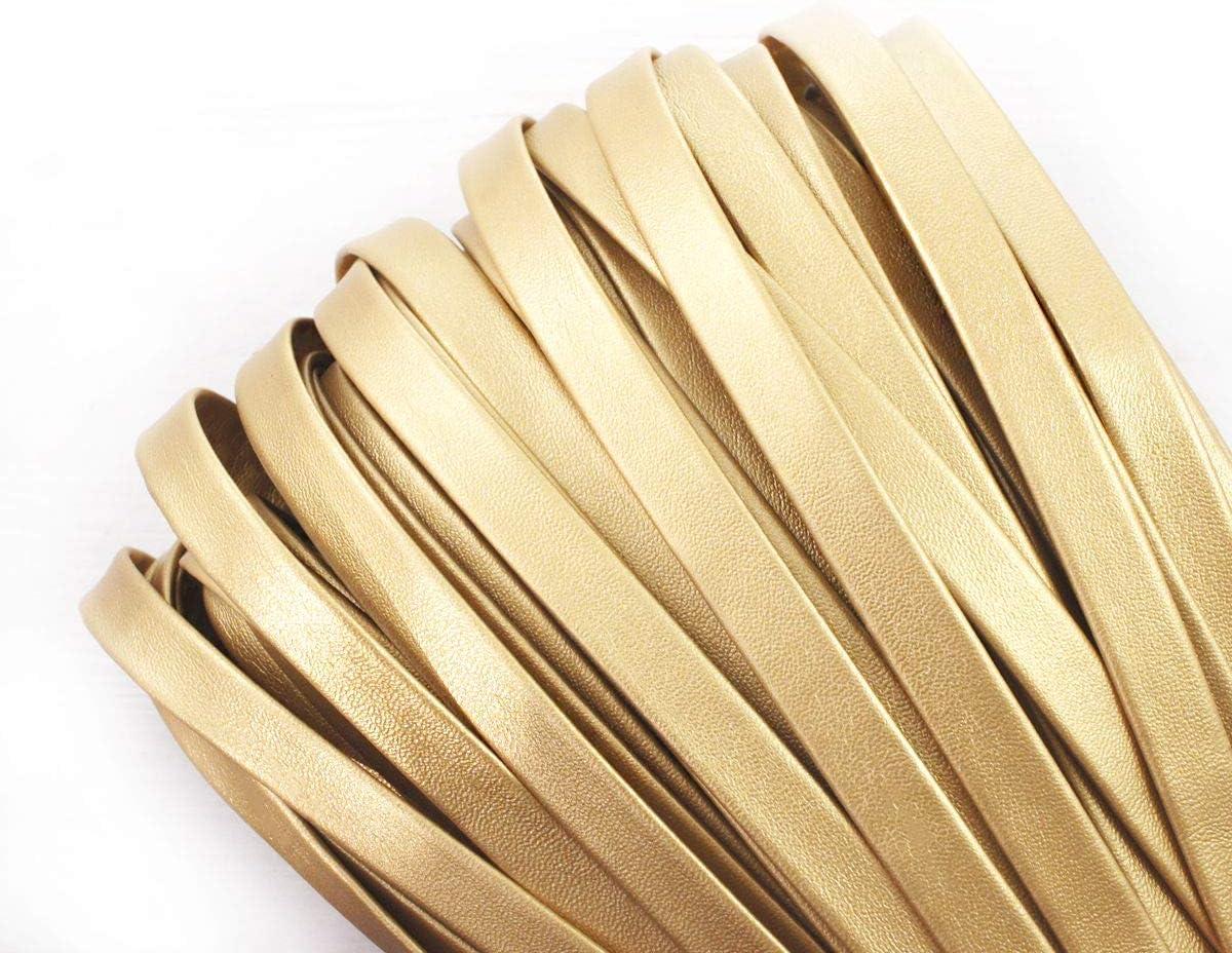 2yrd 1,8 m Opaca Luce dOro PU Ecopelle Cavo Flat cordoncino di Cuoio del Faux Pu Pizzo Perline Stringa Multifunzione in pelle Bovina Braccialetto Collana Artigianato 9mm