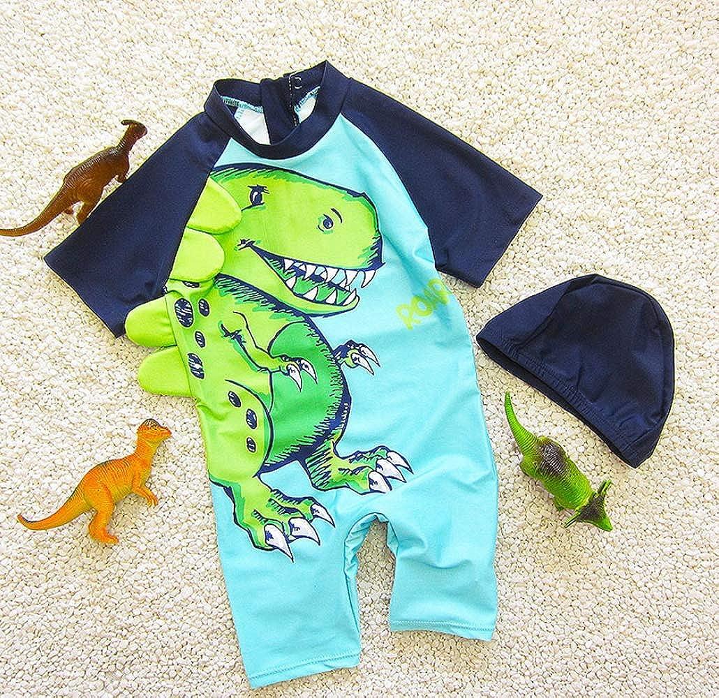 Baby Boys Girls 3D Cartoon Dinosaur Rash Guard Swimsuit One-Piece Sun Product Bathing Suit with Cap Set