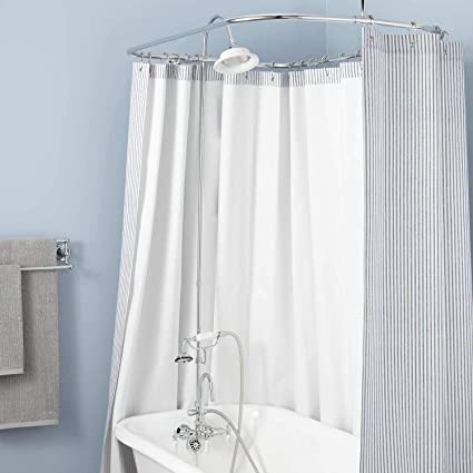 Bathtub To Shower Conversion Kits.Signature Hardware 428124 Gooseneck Hand Shower Conversion Kit With Porcelain Shower Head Porcelain Lever Handles And 60 X 28 Curtain Ring