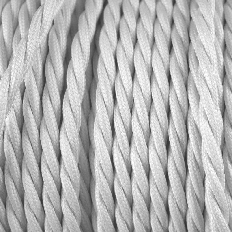 Avec 3 Broches C/âble Electrique Textile Pour Lampe 0,75mm/² smartect - Parfait Pour Les Projets De Bricolage Longueur 10 Metre Blanc/