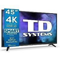 TD Systems K45DLJ12US - Televisores Smart TV 45 Pulgadas 4k UHD, Android 9.0 y HBBTV, 1300 PCI Hz, 3X HDMI, 2X USB. DVB…