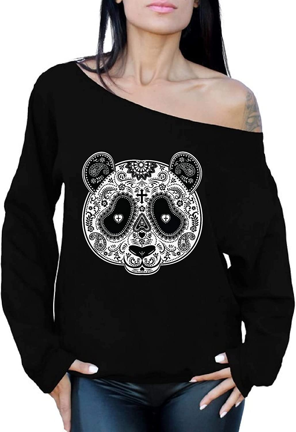 Awkwardstyles Rose Eyes Skull Off The Shoulder Oversized Sweatshirt Sugar Skull