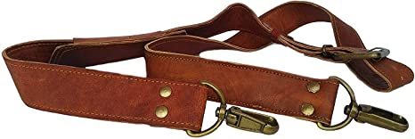 Duffle Bags /& More Laptop Leather Adjustable Padded Replacement Shoulder Strap with Brass Metal Swivel Hooks for Messenger