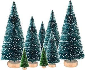 8Pcs Mini Artificial Sisal Snow Christmas Trees Ornaments Bottle Brush Tree for Crafts Decor Table Top Decorations