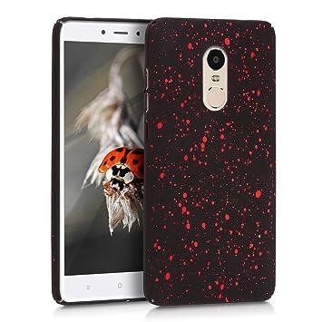 kwmobile Carcasa para Xiaomi Redmi Note 4 / Note 4X - Funda de plástico Dura Protectora antigolpes para el móvil - Rojo/Negro