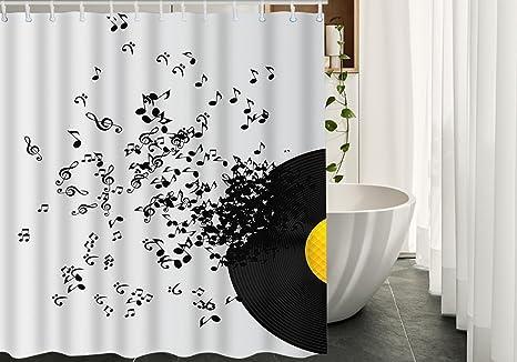 shower curtains decor vinyl records