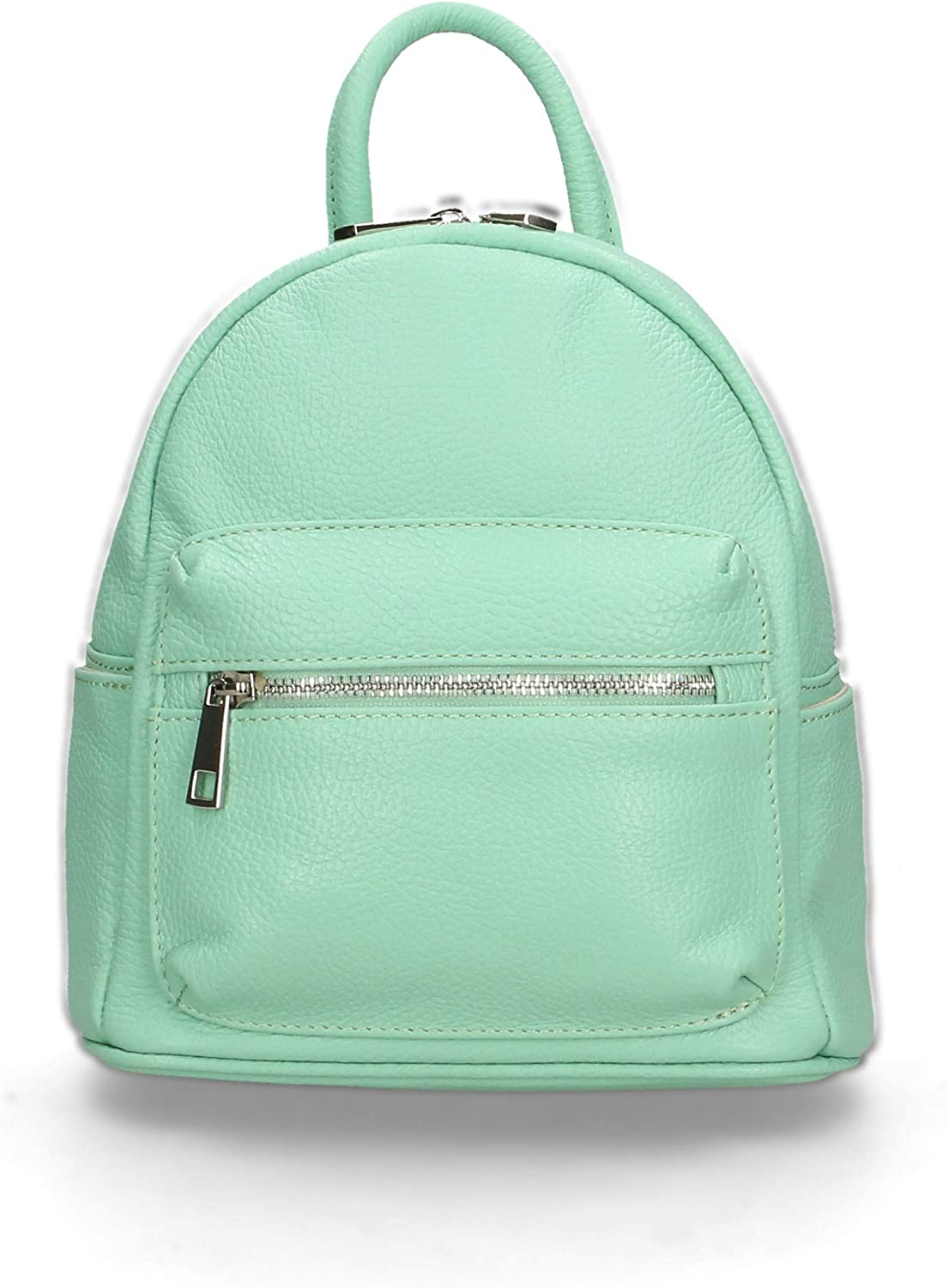 Chicca Borse Backpack Bag in genuine leather made in Italy - 25x23x12 Cm Mint