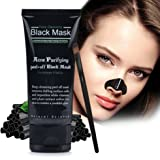 Blackhead Remover Mask with Extra Brush | Thick Charcoal Peel Off Mask | Deep Penetrating Pore Mud | Porous Hexagonal Structure | 50mL