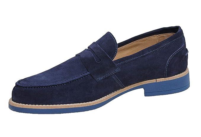 sezione speciale design senza tempo consegna gratuita Scarpe mocassini uomo blu scuro casual eleganti scamosciati ...
