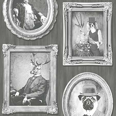 Dogs Wallpaper Vintage Antique Frames Photos Vinyl Paste The Wall Charcoal White