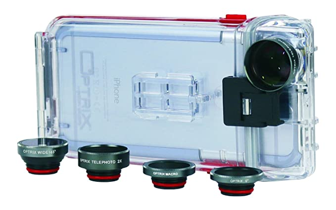 sale retailer 0b2be 650ce Optrix Waterproof Action Camera Case + 4 Lens Pro Kit for iPhone 6/6s Clear  9476802 [FT111206]