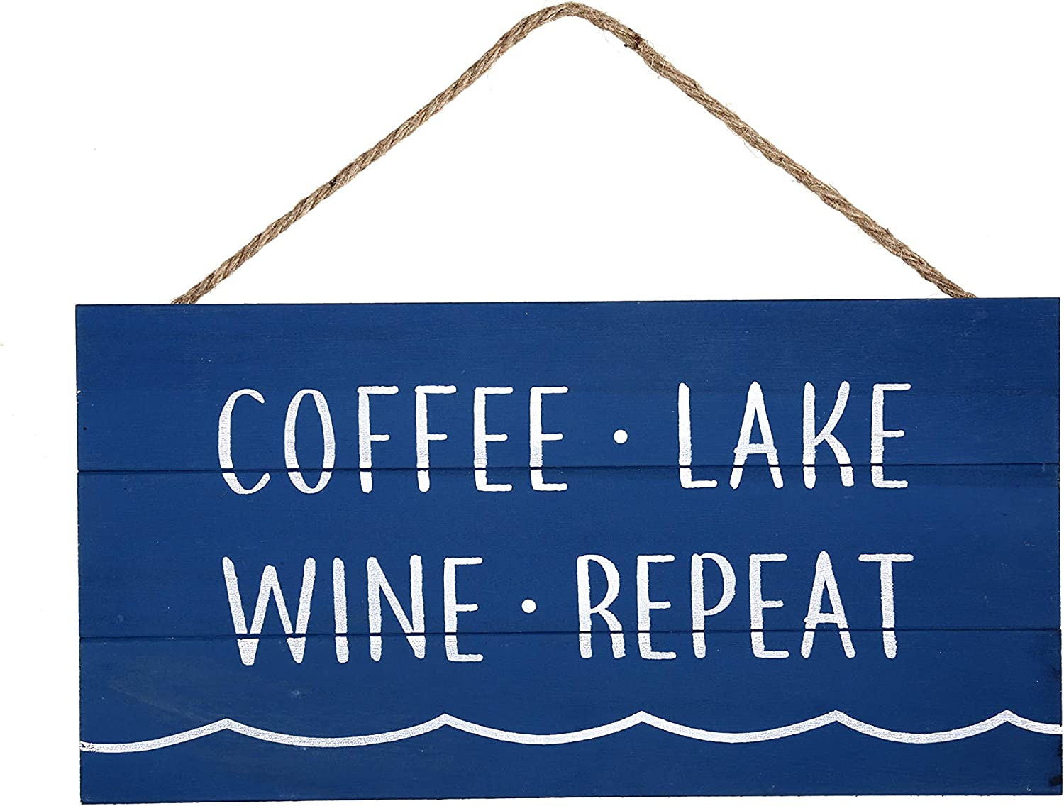 Coffee Lake Wine Repeat Wood Plank Hanging Sign for Home Decor (13.75 x 6.9 Inches with Blue Background)