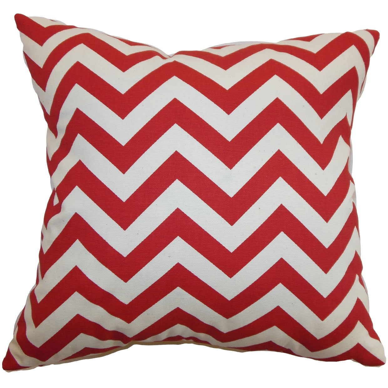 P18-PP-ZIGZAP-CORAL-WHITE-C100 Home The Pillow Collection Xayabury Zigzag Pillow 18 x 18 Coral White The Pillow Collection Inc.