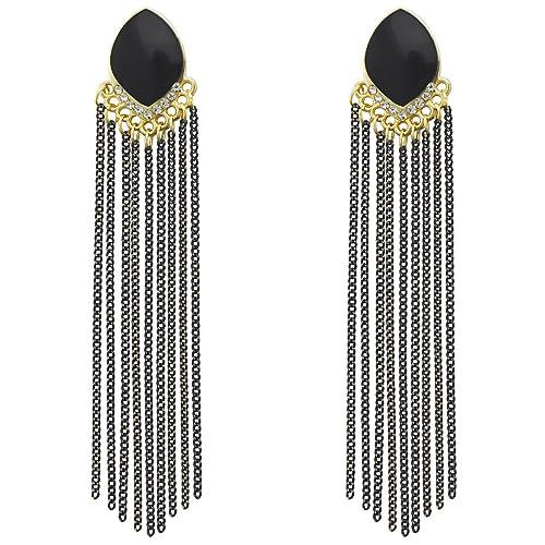 1b039364864f71 Women Vintage Ethnic Drop Bohemian Dangle Earring Alloy Handmade Long Link  Chain Tassel Earrings Black