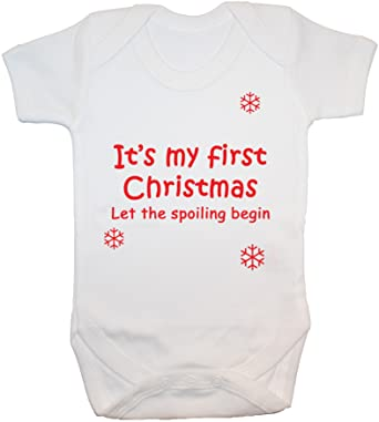 c37de8bd4 Acce Products It's My First Christmas Let The Spoiling Begin Baby Grow/ Bodysuit/Romper