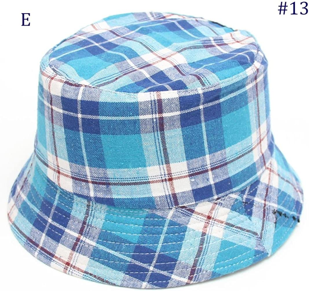 Holidays and Outdoors Kolylong Toddler Baby Bucket Hat ✿ Kids Boys Girls Plaid Pattern Cap Breathable Sun Hat Fishermans Hat Age 2-6 Years