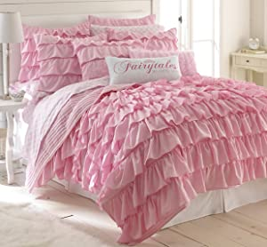 Levtex Bella Full/Queen Cotton Quilt Set Pink Ruffled