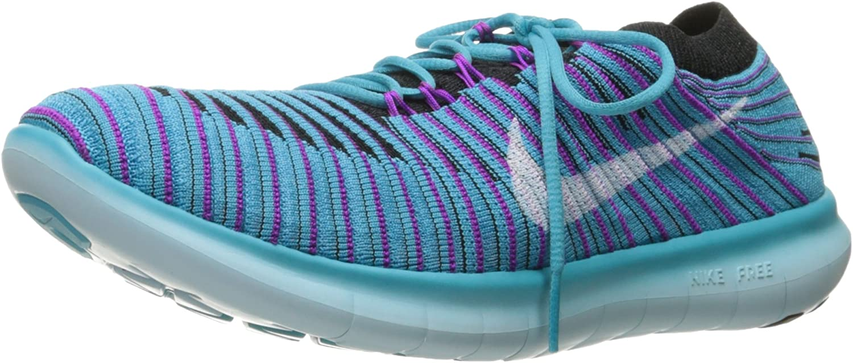 Nike Women s Free Running Motion Flyknit Shoes, Gamma Blue White Blk Hypr Vlt – 6 B M US
