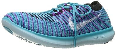 Nike Women's Free Running Motion Flyknit Shoes, Gamma Blue/White/Blk/Hypr