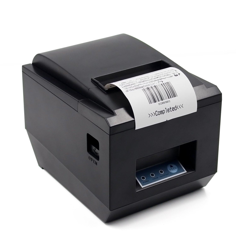 POS Thermal USB Square Receipt Printer Ethernet / LAN, & Serial Port - Auto Cutter - Cash Drawer Port - Paper Width 3 1/8'' (80mm) - Works on Windows XP/Vista/7/8/8.1/10 Uses