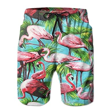 1f208c4833 Mens Beach Shorts Tropical Forest Flamingo Swim Trunks Board Cargo Summer  Shorts Quick-Drying White