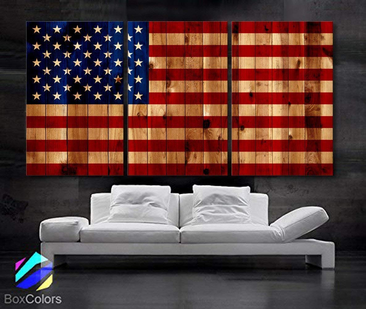 """Original by BoxColors Large 30""""x 60"""" 3 Panels 30x20 Ea Art Canvas Print American Flag Glory USA Vintage image texture wood Wall Decor Office Interior Home (Included Framed 1.5"""" Depth)"""