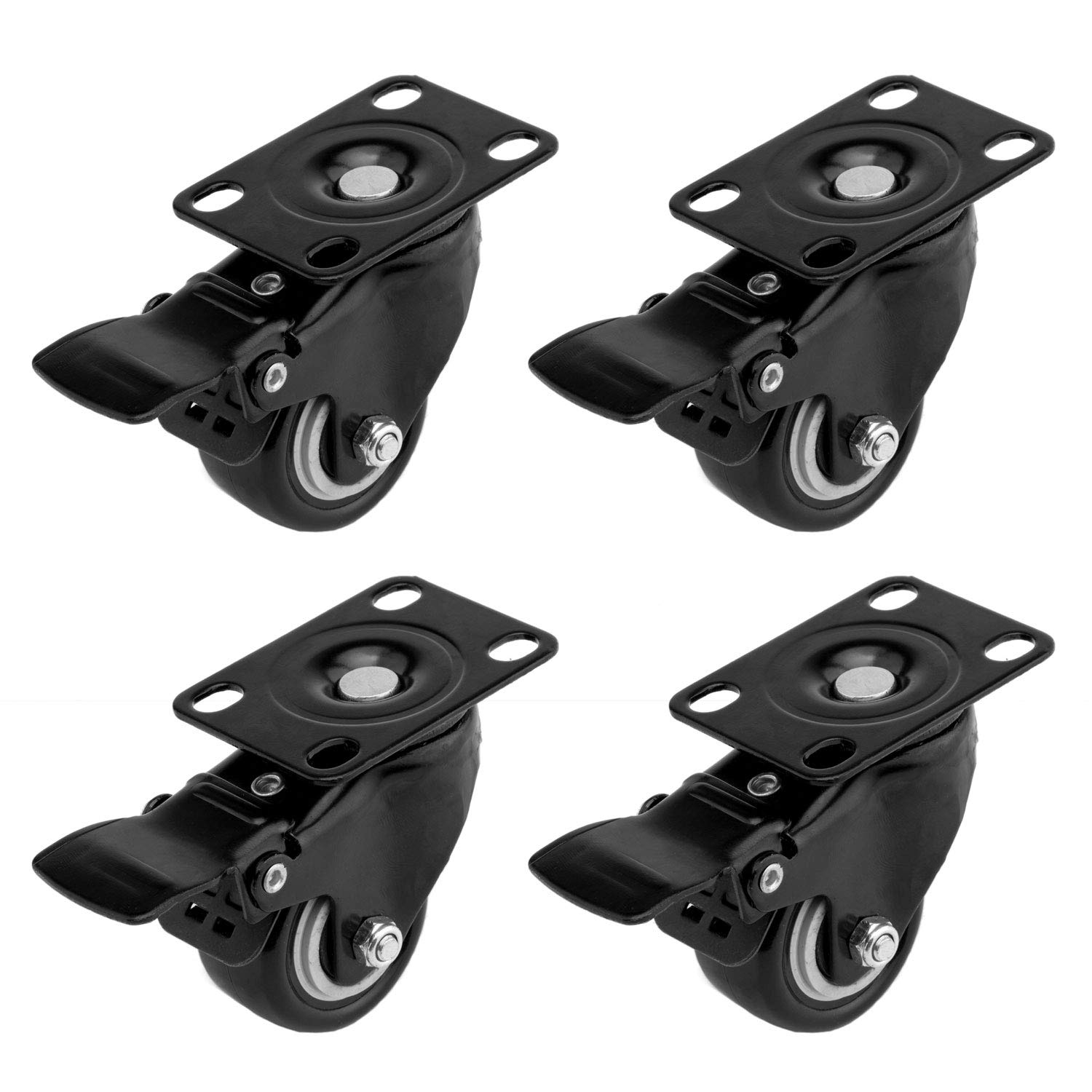 ULIFESTAR Swivel Caster Wheels with 360 Degree Top Plate,Heavy Duty Polyurethane PU Rubber Dual Locking Steering Caster Wheels with Brakes for Industrial Trailer/Home Furniture Replacement (2'')