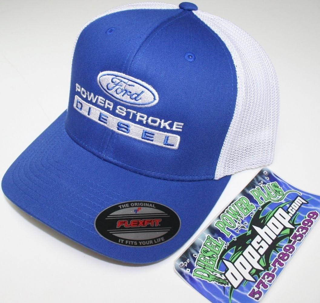 Powerstroke Power Stroke Blue White Flexfit mesh Summer Trucker Diesel Truck hat Cap