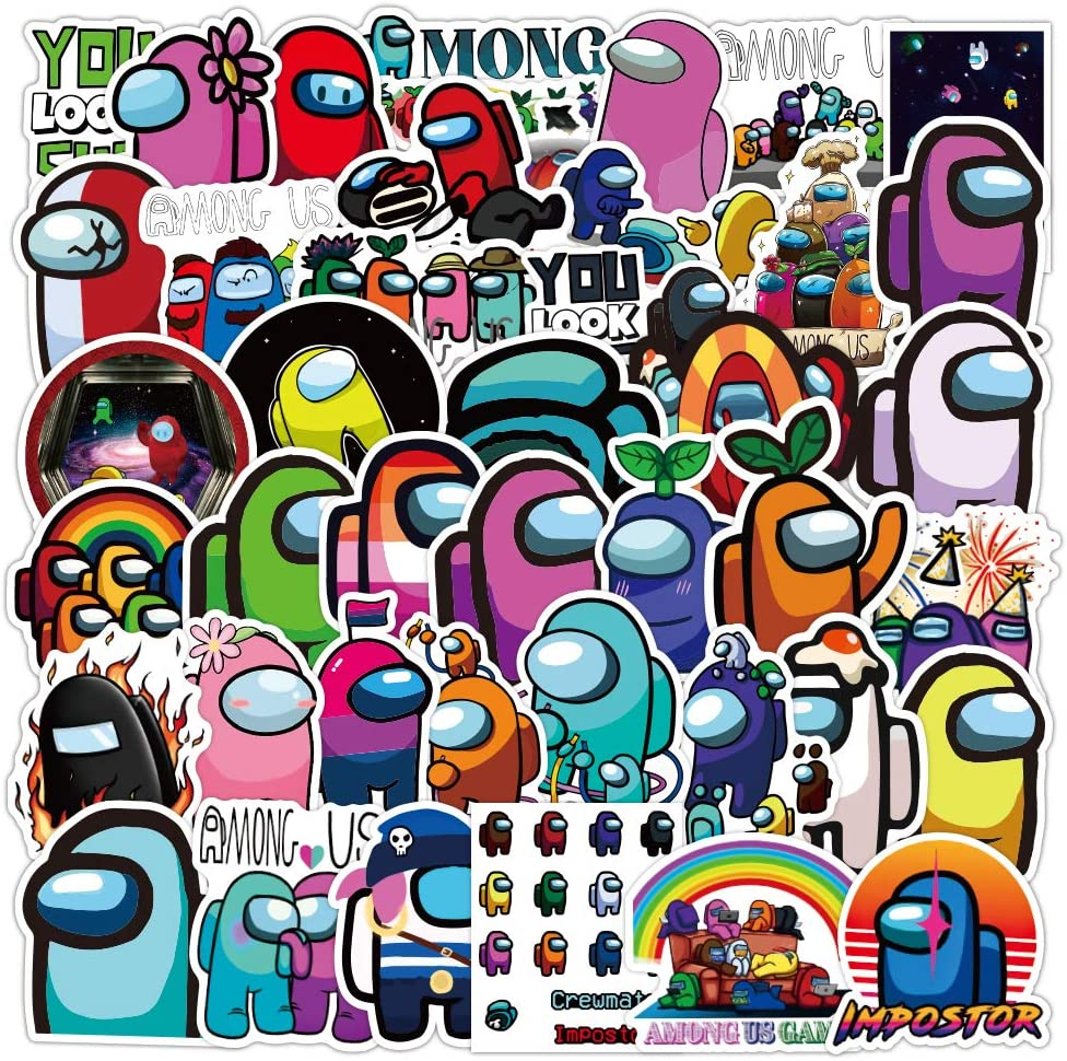AdnesUSA Among us Sticker, 52pcs hot Waterproof Vinyl Decals Game Stickers, for Kids Teens Homes School Decor,laptops,Hydro flasks,Guitar,Skateboard Wall Windows and so on