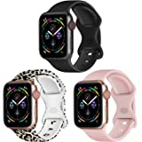 RARF 3-Pack Bands Compatible with Apple Watch 38mm 40mm 41mm 42mm 44mm 45mm for Women Men, Soft Silicone Sport Replacement St