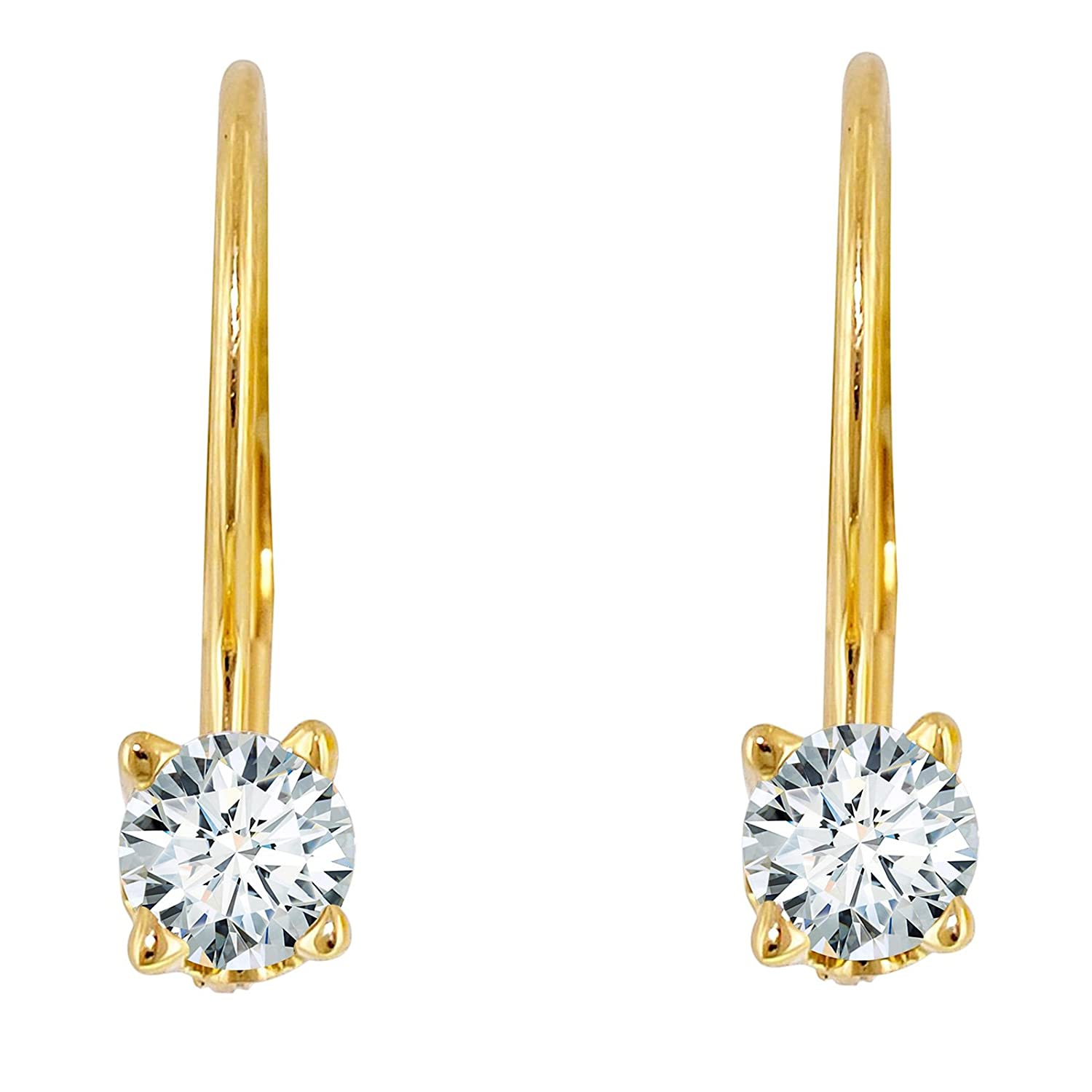 Clara Pucci 0.40 CT BRILLIANT ROUND CUT Solitaire DROP DANGLE LEVERBACK EARRINGS 14K Yellow GOLD
