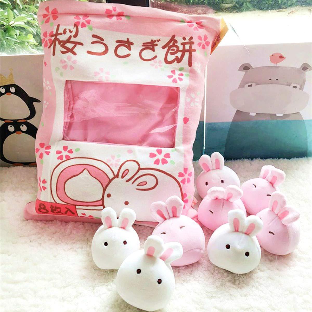 Nenalayo Cute Throw Pillow Stuffed Animal Toys Removable Fluffy Bunnies Creative Gifts for Teens Girls Kids by Nenalayo (Image #2)