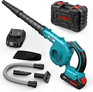 Cordless Leaf Blower, ENEACRO 20V 2.0AH 150MPH Lithium Battery-Powered 2 in 1 for Sweeper & Vacuum Leaf/Dust, 5 Variable Speed Lightweight with Battery, Fast Charger & Carry Case