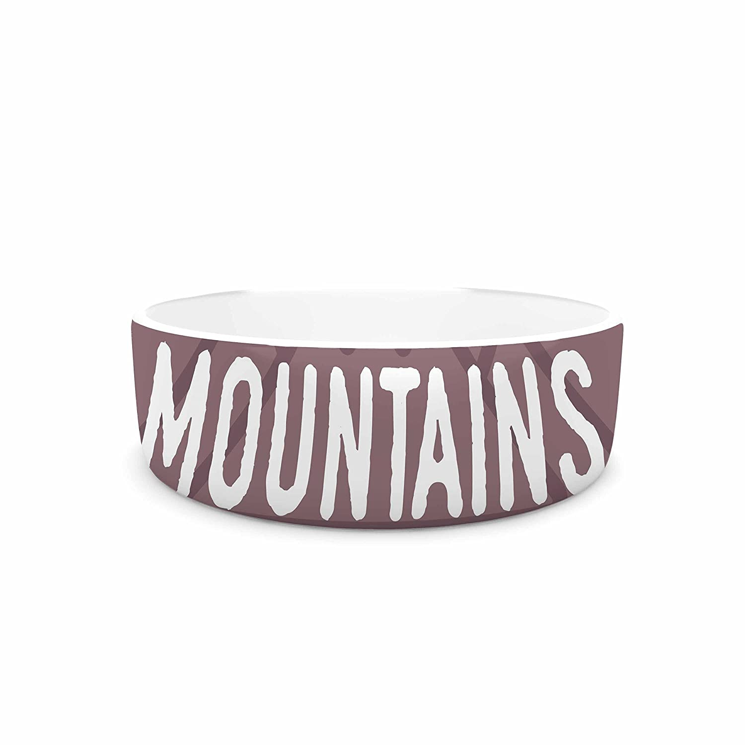 7\ KESS InHouse Jackie pink The Mountains are Calling  Purple Typography Pet Bowl, 7