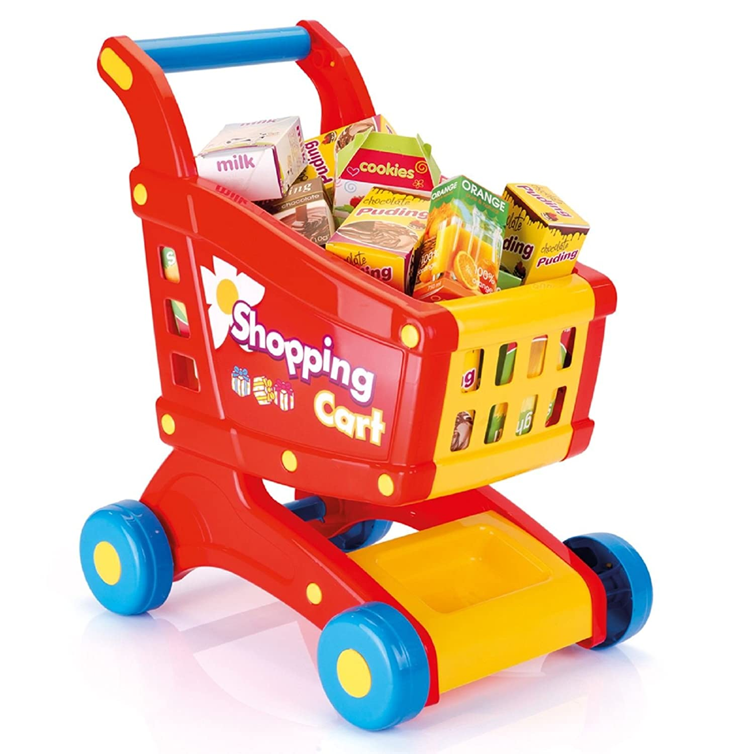 Dolu Childrens Kids Pretend Play Shopping Grocery Food Trolley