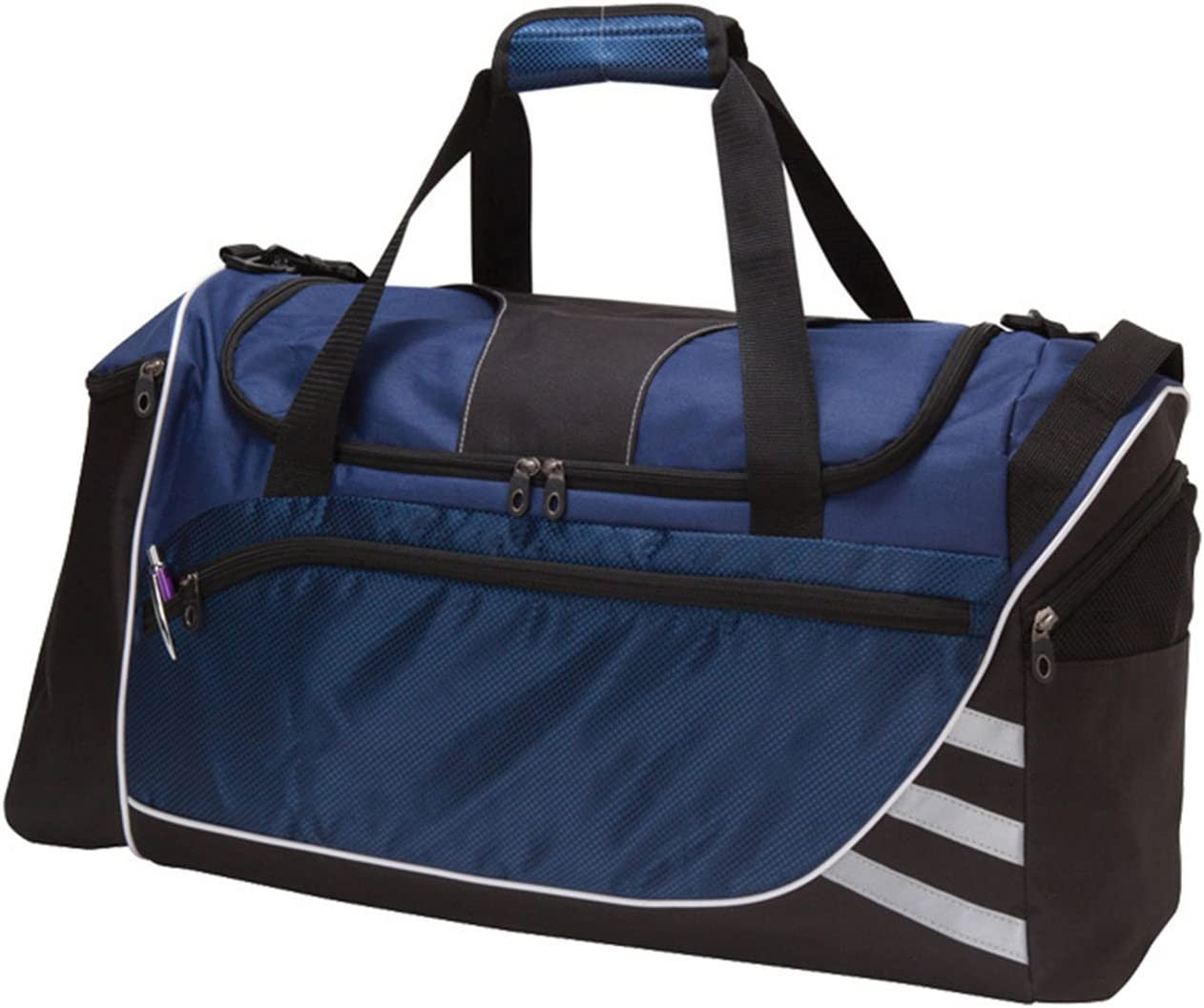 18inch Navy Blue Lightweight Crossfit Gym Bag TwoTone Pattern Polyester