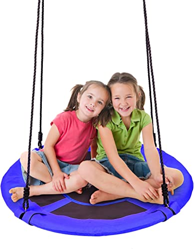 40 Inch Waterproof Saucer Tree Swing Set, 360 Rotate , 600lb Weight Capacity , Adjustable Hanging Ropes, for Kids, Adults and Teens,Great for Playground Swing, Backyard and Playroom