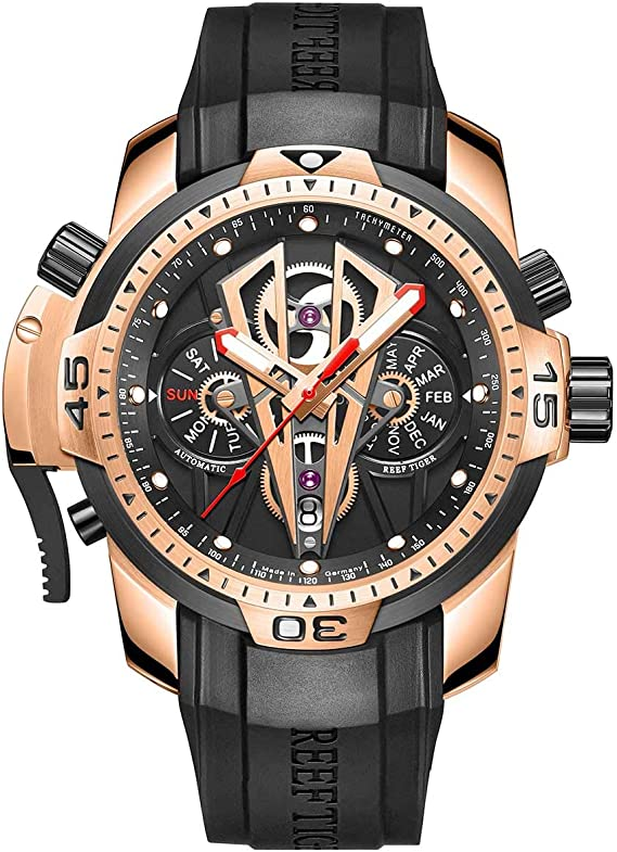 Reef Tiger Mens Sport Mechanical Watches with Rose Gold Black Dial Automatic Watch Calfskin Rubber Strap RGA3591