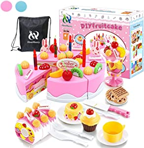 HenMerry 75PCS Birthday Cake Toy DIY Cutting Cake Play Set Kids Play Kitchen Food Pretend Play Cake Toy Best for Girls Birthday Party Gift (75PCS Pink)