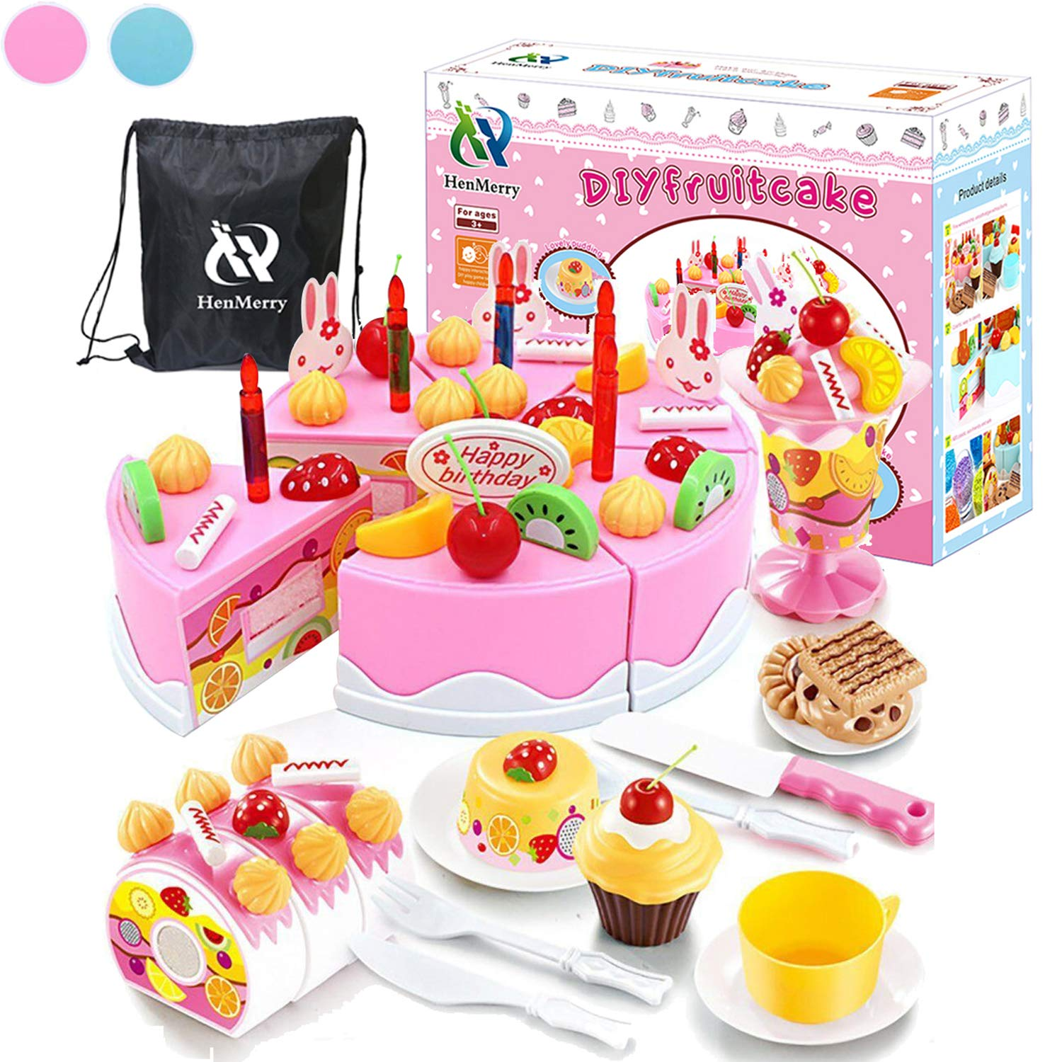 HenMerry 75PCS Birthday Cake Toy DIY Cutting Play Set Kids Kitchen Food Pretend Best For Girls Party Gift Pink