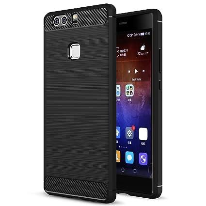 vendita calda online 3f9c0 27dcd Huawei P9 Plus Case, Landee Soft TPU Shock Absorption and Carbon Fiber  Design Silicone Case for Huawei P9 Plus / P9+ (Black)