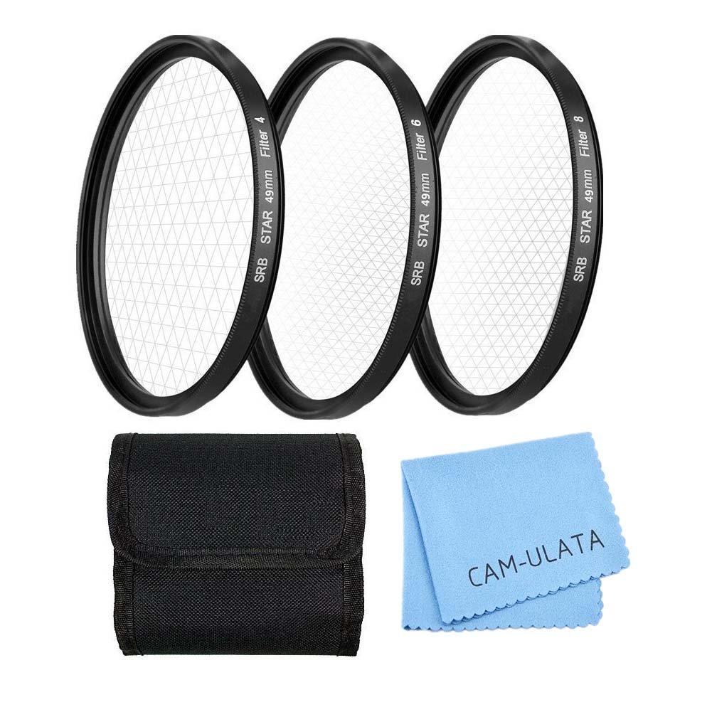 Stern Effektfilter, CAM-ULATA 49mm 4 Punkte 6 Punkte 8 Punkte Stern Filter für Canon Nikon Sony Olympus Pentax Digital SLR Kamera Camcorder DV Objektiv Effekt-Filterset + Nylon Filtertasche + Premium Microfaser Reinigungstuch