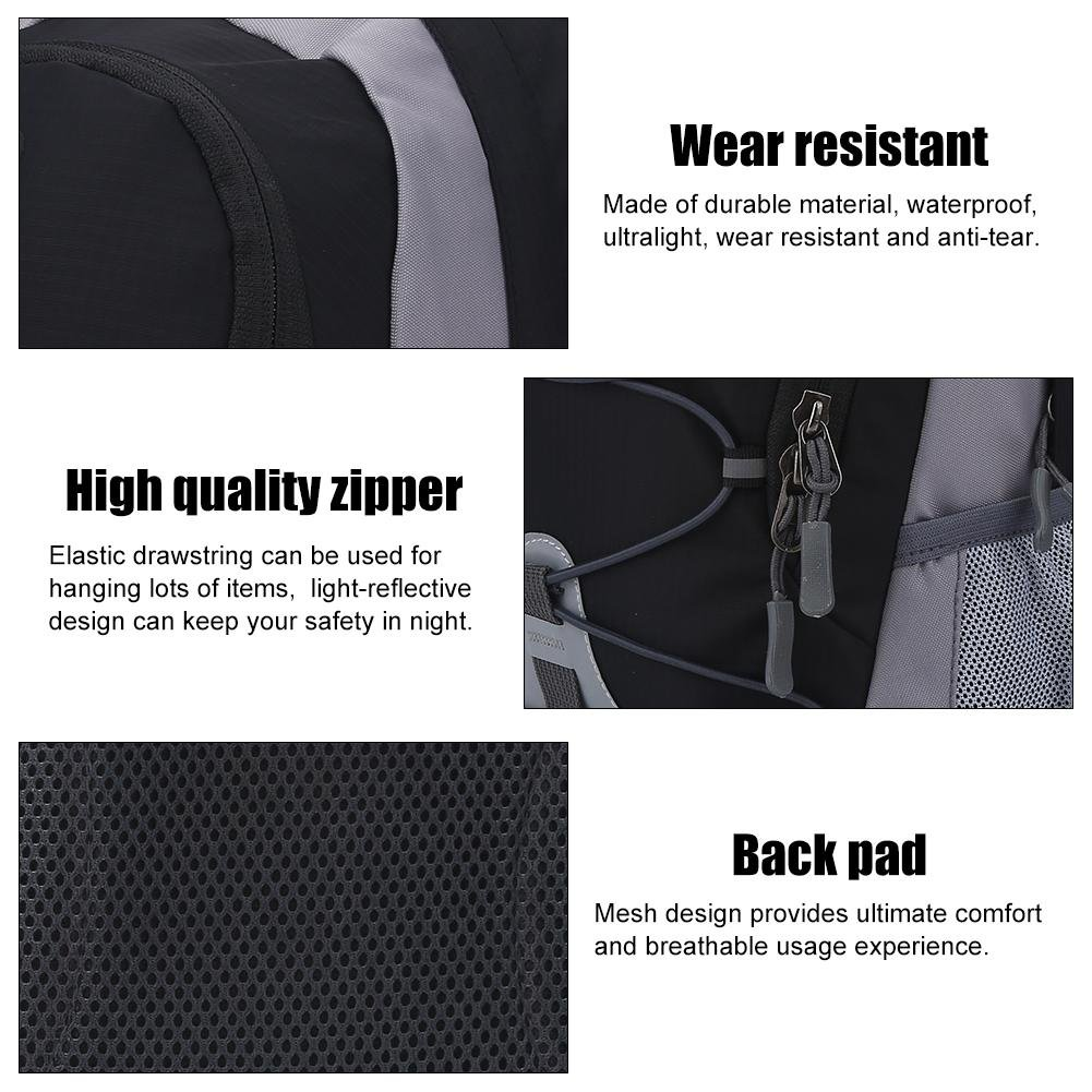 Mochila de nailon impermeable con cord/ón para deportes al aire libre BlackBlack