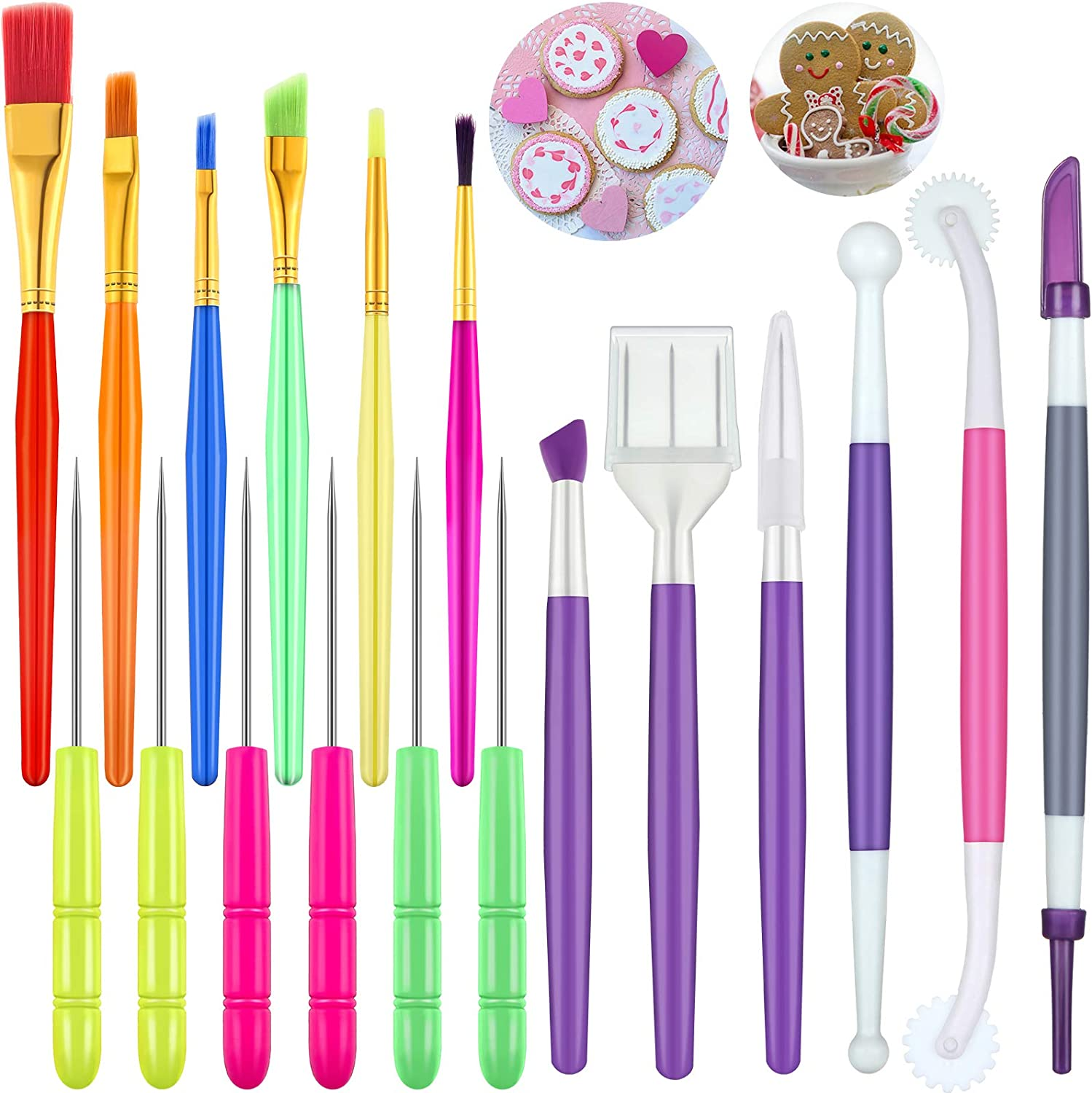 18 Pieces Cake Decorating Tool Set, Cookie Decoration Brushes Cookie Scriber Needles Sugar Stir Needle Double Head Fondant Gum Paste Tool for Cookie Cake Fondant Decoration