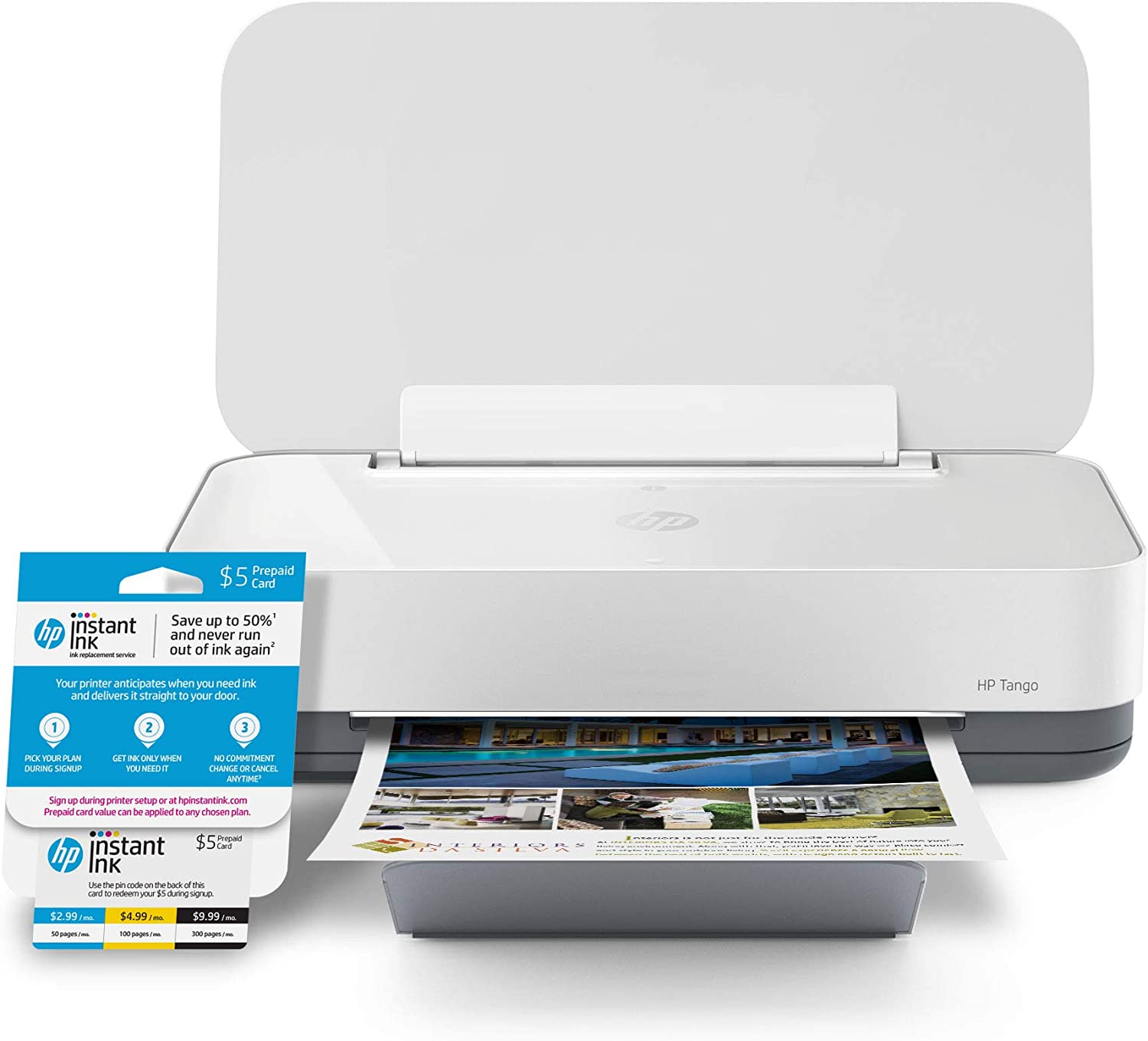 HP Tango Smart Home Printer with Instant Ink 5 Dollar Prepaid Card, Certified Works with Alexa (2RY54A)