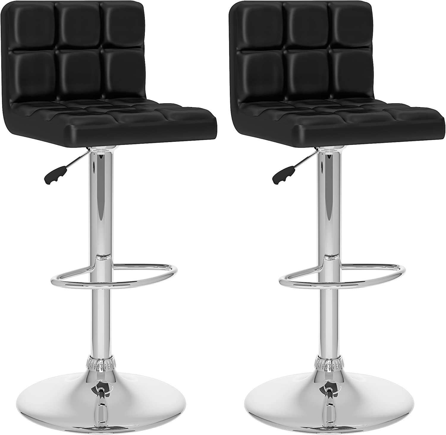 CorLiving High Back Adjustable Bar Stool, Black Leatherette, Set of 2