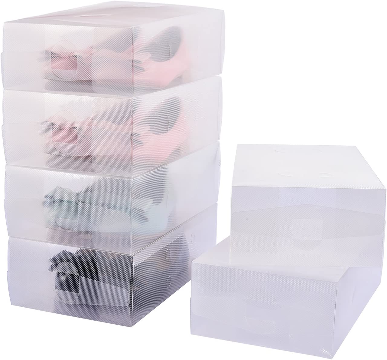 Hapilife Shoe Box, 22pcs Shoe Storage Box-For Ladies Men-Stackable and Foldable-Plastic and Clear