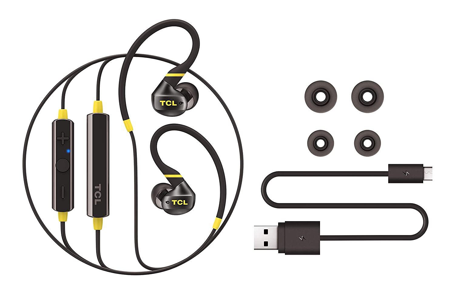 TCL ACTV100BT in-Ear Active Noise Isolating Wireless Headphones with Built-in Mic Black
